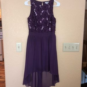 High low purple homecoming/formal dress